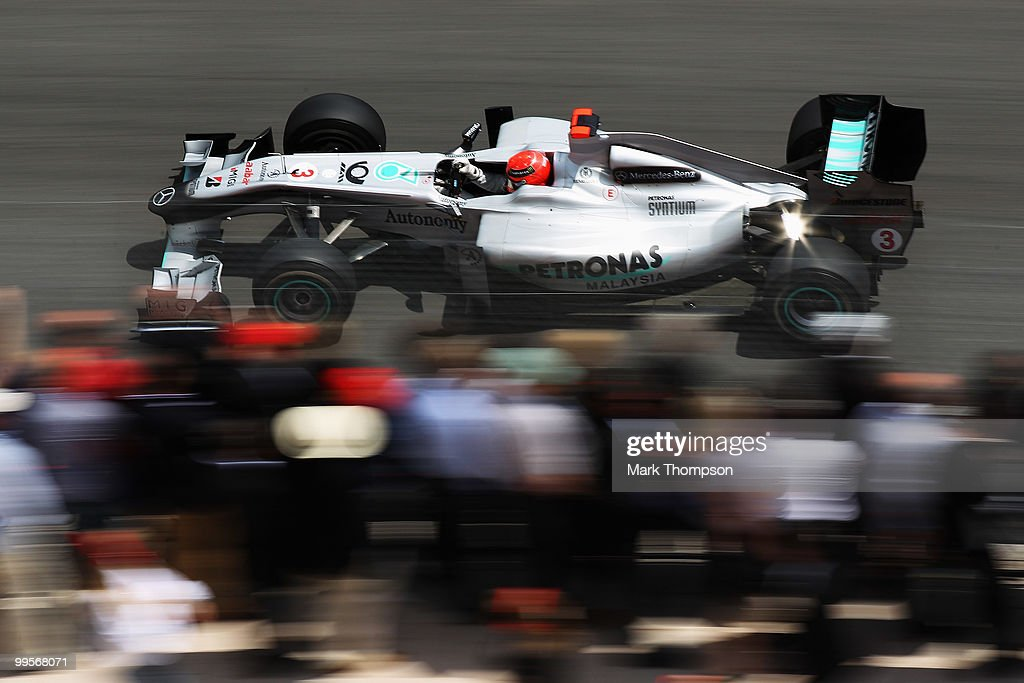 Michael Schumacher of Germany and Mercedes GP drives during qualifying for the Monaco Formula One Grand Prix at the Monte Carlo Circuit on May 15, 2010 in Monte Carlo, Monaco.