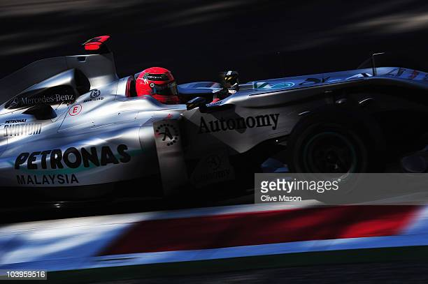 Michael Schumacher of Germany and Mercedes GP drives during practice for the Italian Formula One Grand Prix at the Autodromo Nazionale di Monza on...