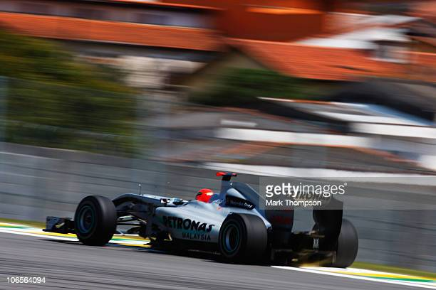 Michael Schumacher of Germany and Mercedes GP drives during practice for the Brazilian Formula One Grand Prix at the Interlagos Circuit on November 5...