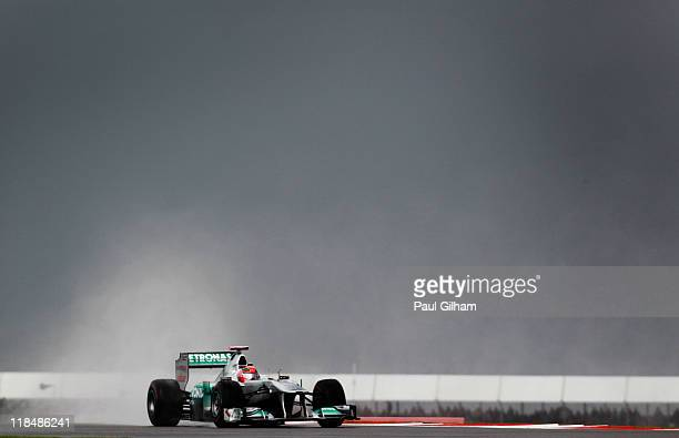 Michael Schumacher of Germany and Mercedes GP drives during practice for the British Formula One Grand Prix at the Silverstone Circuit on July 8 2011...