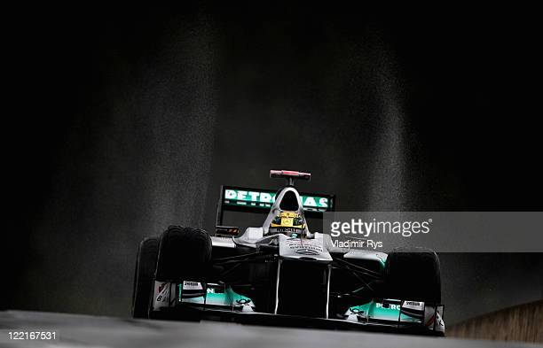 Michael Schumacher of Germany and Mercedes GP drives during practice for the Belgian Formula One Grand Prix at the Circuit of Spa Francorchamps on...