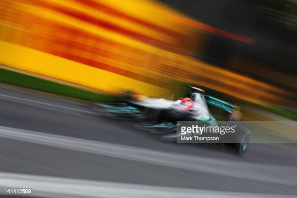 Michael Schumacher of Germany and Mercedes GP drives during practice for the Australian Formula One Grand Prix at the Albert Park circuit on March...
