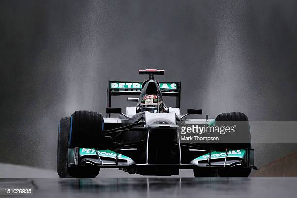 Michael Schumacher of Germany and Mercedes GP drives during practice for the Belgian Grand Prix at the Circuit of Spa Francorchamps on August 31,...