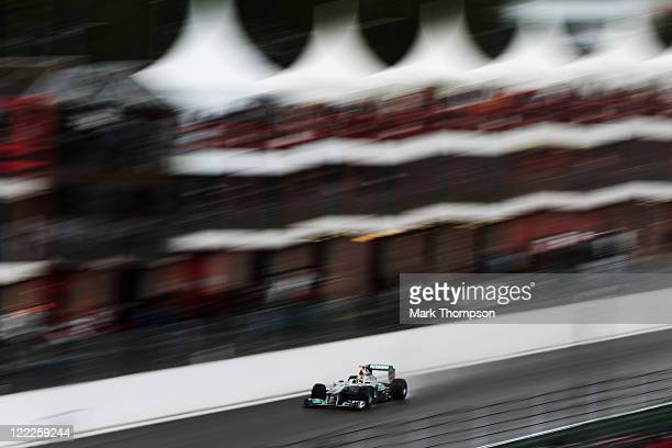 Michael Schumacher of Germany and Mercedes GP drives during the final practice session prior to qualifying for the Belgian Formula One Grand Prix at...
