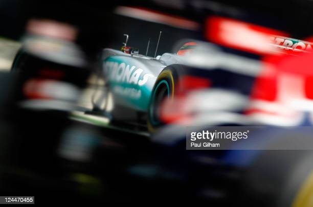 Michael Schumacher of Germany and Mercedes GP drives during the final practice session prior to qualifying for the Italian Formula One Grand Prix at...