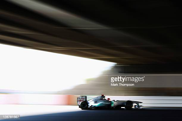 Michael Schumacher of Germany and Mercedes GP drives during the final practice session prior to qualifying for the Japanese Formula One Grand Prix at...