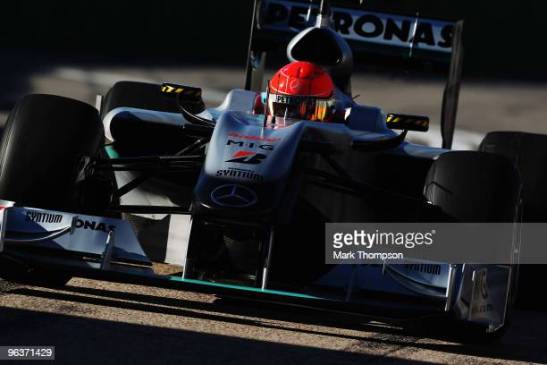 Michael Schumacher of Germany and Mercedes GP drives during winter testing at the Ricardo Tormo Circuit on February 3, 2010 in Valencia, Spain.