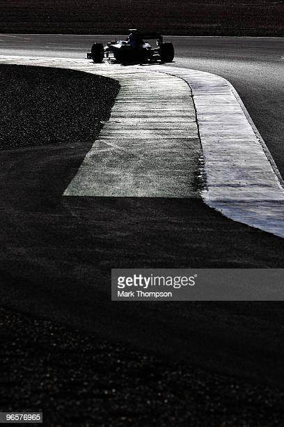 Michael Schumacher of Germany and Mercedes GP drives during winter testing at the Circuito De Jerez on February 11 2010 in Jerez de la Frontera Spain