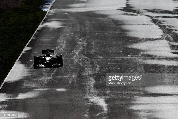 Michael Schumacher of Germany and Mercedes GP drives during winter testing at the Circuito De Jerez on February 17 2010 in Jerez de la Frontera Spain