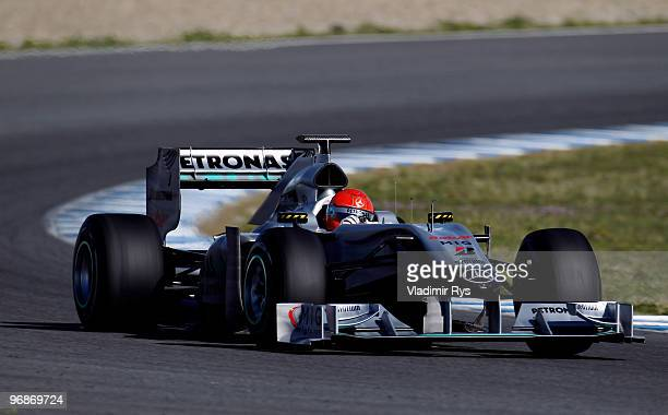 Michael Schumacher of Germany and Mercedes GP drives during winter testing at the Circuito De Jerez on February 19 2010 in Jerez de la Frontera Spain