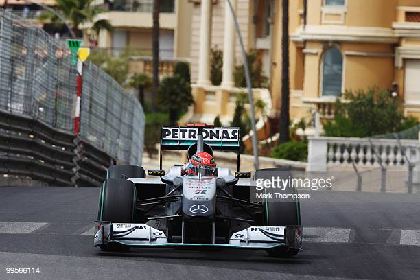Michael Schumacher of Germany and Mercedes GP drives in the final practice session prior to qualifying for the Monaco Formula One Grand Prix at the...