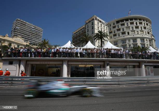 Michael Schumacher of Germany and Mercedes GP drives on his way to setting the fastest time before his five place grid penalty during qualifying for...
