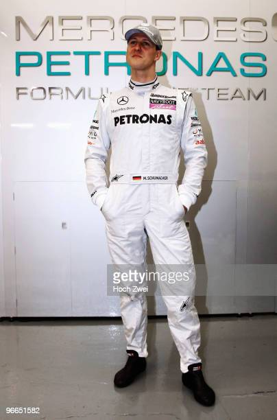 Michael Schumacher of Germany and Mercedes GP is seen in his team garage during winter testing at the Circuito De Jerez on February 13 2010 in Jerez...