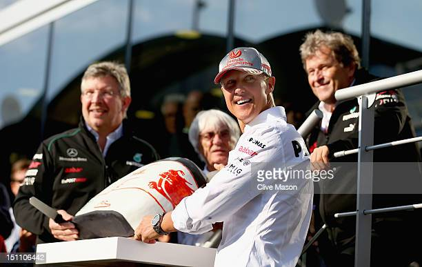 SPA FRANCORCHAMPS BELGIUM SEPTEMBER 01 Michael Schumacher of Germany and Mercedes GP is seen with F1 supremo Bernie Ecclestone Mercedes GP Team...