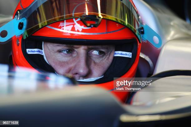Michael Schumacher of Germany and Mercedes GP prepares to drive during winter testing at the Ricardo Tormo Circuit on February 3, 2010 in Valencia,...