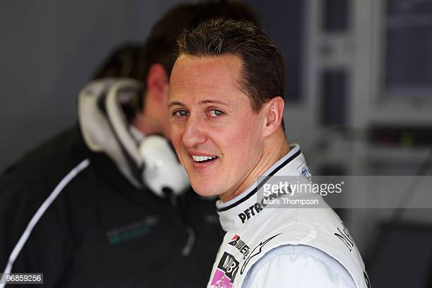 Michael Schumacher of Germany and Mercedes GP prepares to drive during winter testing at the Circuito De Jerez on February 19 2010 in Jerez de la...