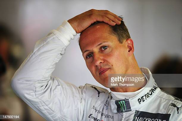 Michael Schumacher of Germany and Mercedes GP prepares to drive during practice for the British Grand Prix at Silverstone Circuit on July 6 2012 in...