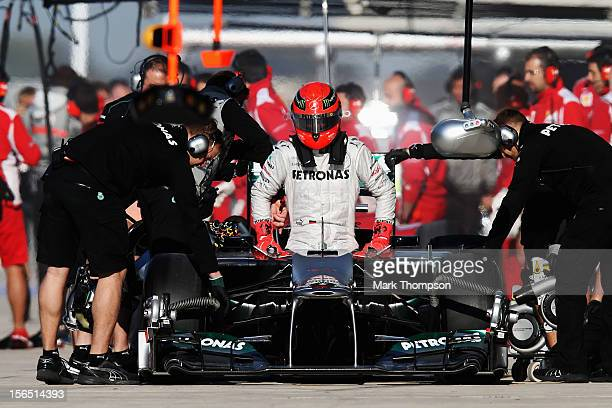 Michael Schumacher of Germany and Mercedes GP prepares to drive during practice for the United States Formula One Grand Prix at the Circuit of the...