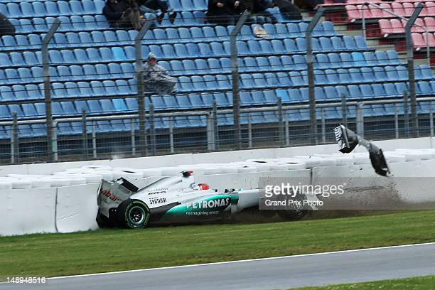 Michael Schumacher of Germany and Mercedes GP spins and crashes out during practice for the German Grand Prix at Hockenheimring on July 20, 2012 in...