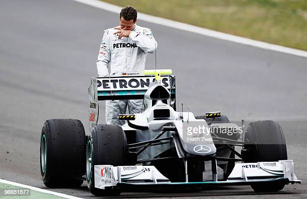Michael Schumacher of Germany and Mercedes GP stops out on the track during winter testing at the Circuito De Jerez on February 13 2010 in Jerez de...