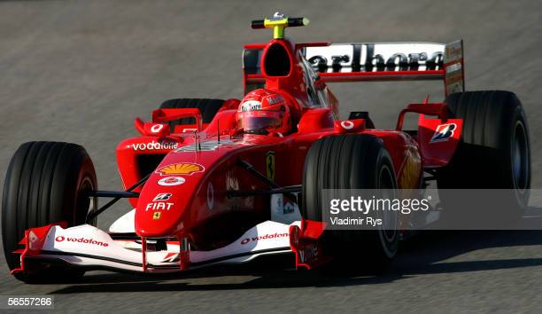 Michael Schumacher of Germany drives his new Ferrari V8 during F1 testing at Circuito de Jerez on January 10 2006 in Jerez Spain