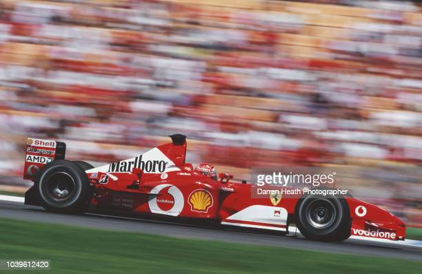 Michael Schumacher of Germany drives the Scuderia Ferrari Marlboro Ferrari F2002 Ferrari V10 to victory in the Formula One German Grand Prix on 28...