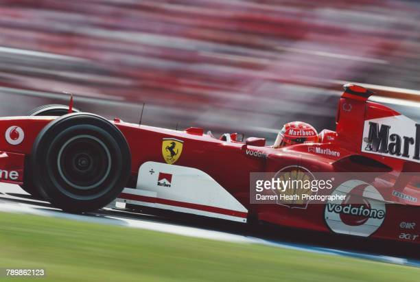 Michael Schumacher of Germany drives the Scuderia Ferrari Marlboro Ferrari F2004 Ferrari V10 to victory in the Formula One German Grand Prix on 25...