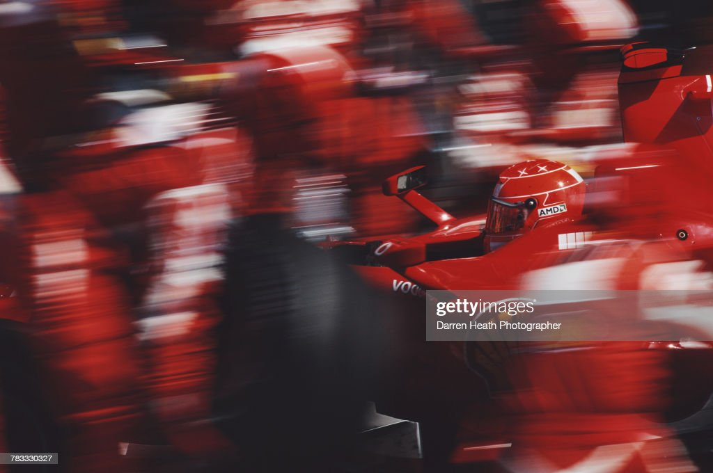 Michael Schumacher of Germany driving the #5 Scuderia Ferrari Marlboro Ferrari 248 F1 Ferrari V10 makes a pit stop on his way to winning his 90th Grand Prix at the Formula One Italian Grand Prix on 10 September 2006 at the Autodromo Nazionale Monza, Monza, Italy.