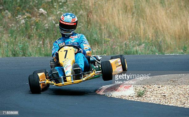 Michael Schumacher of Germany in action after the press conference on the gocart circuit on July 1 1994 in Kerpen Germany