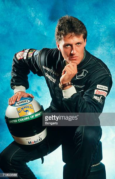 Michael Schumacher of Germany poses during a photo call at the Bongarts Studio on November 141991 in Hamburg Germany