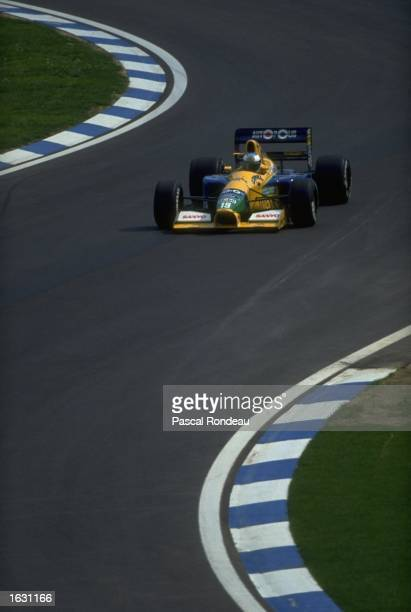Michael Schumacher of Germany races through a chicane in his Benetton Ford during the Spanish Grand Prix at the Barcelona circuit in Spain Schumacher...