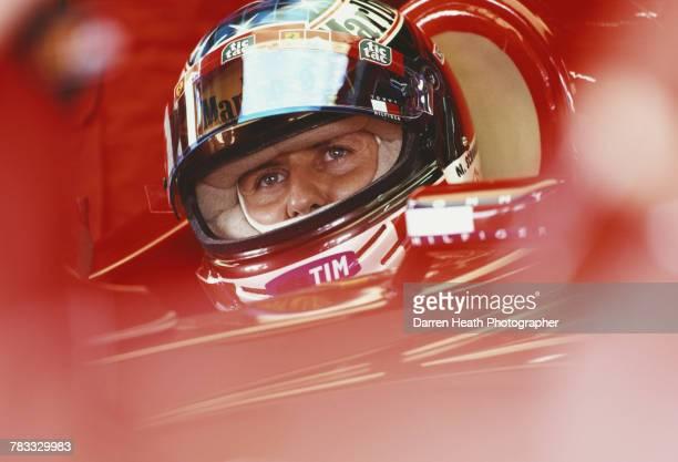 Michael Schumacher of Germany sits aboard the Scuderia Ferrari Marlboro Ferrari F12000 Ferrari V10 during practice for the Formula One Brazilian...