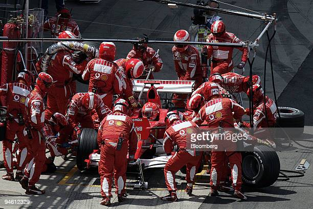 Michael Schumacher of Team Ferrari is seen at a pit stop during the Formula 1 GP of Great Britain, in Silverstone, U.K., Sunday, June 11, 2006.