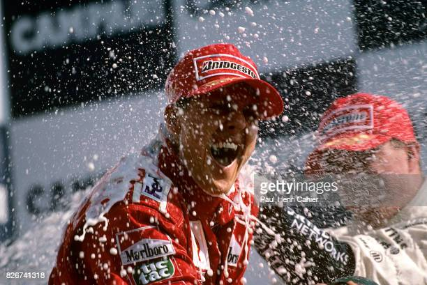 Michael Schumacher Ralf Schumacher Grand Prix of Italy Monza 10 September 2000 Champagne shower for the Schumacher brothers Michael and Ralf