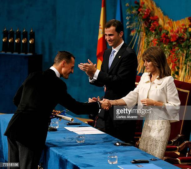 Michael Schumacher receives from Princess Letizia of Spain the Sport Award during Prince of Asturias Award Ceremony on October 26 2007 at the...