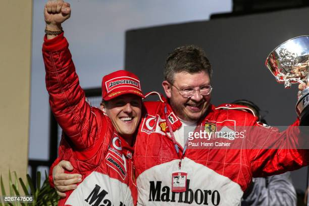 Michael Schumacher, Ross Brawn, Grand Prix of Brazil, Interlagos, 31 March 2002. Michael Schumacher with Ferrari Technical Director Ross Brawn.