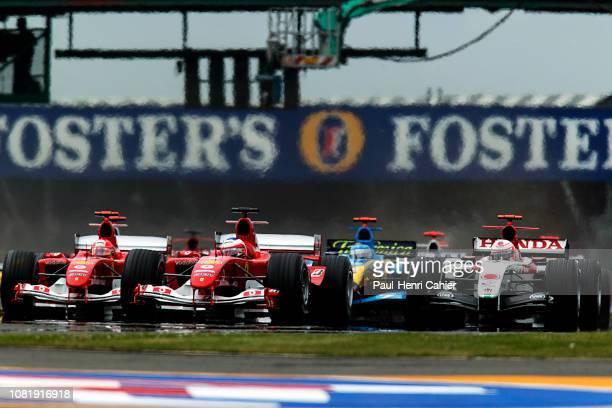 Michael Schumacher Rubens Barrichello Jarno Trulli Jenson Button Grand Prix of Great Britain Silverstone Circuit 11 July 2004 Rubens Barrichello next...