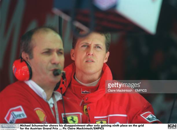 Michael Schumacher shows his disappointment after only gaining ninth place on the grid for the Austrian Grand Prix