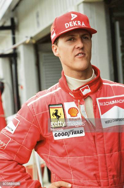 Michael Schumacher talking to the press at Silverstone 13th July 1996