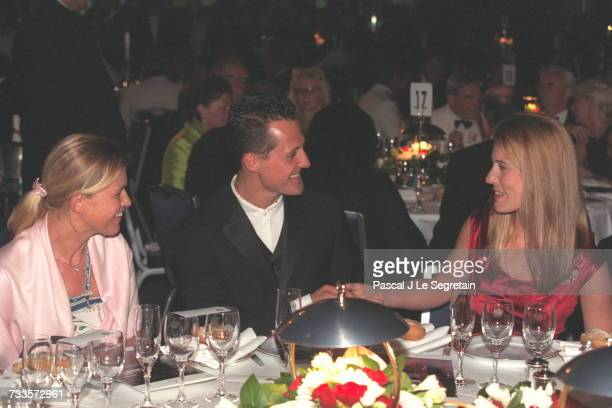 Michael Schumacher with his wife Corinna and Sophie Favier