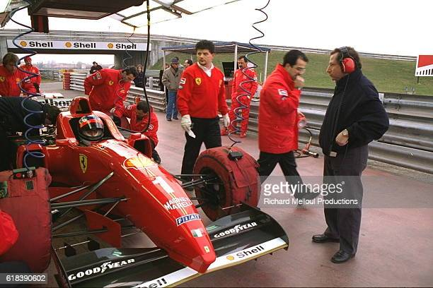 Michael Schumacher with Jean Todt on the Fiorano circuit