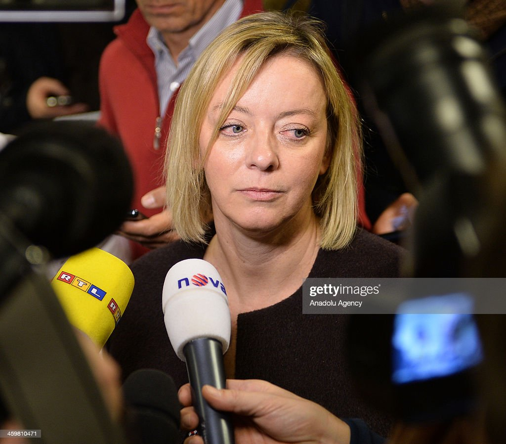 Michael Schumacher's press officer Sabine Kehm talks to the media at Grenoble University Hospital Centre on Michael Schumacher's medical state following his skiing accident on Sunday on December 31, 2013 in Grenoble, France.