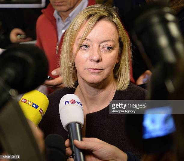 Michael Schumacher's press officer Sabine Kehm talks to the media at Grenoble University Hospital Centre on Michael Schumacher's medical state...