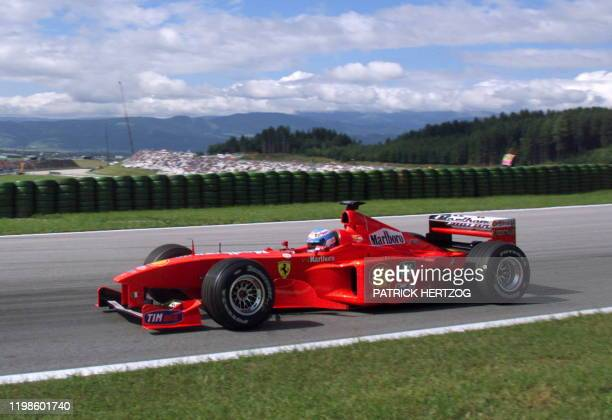 Michael Schumacher's substitute Finnish Ferrari driver Mika Salo speeds his car on the racetrack during the third free practice session in Spielberg...