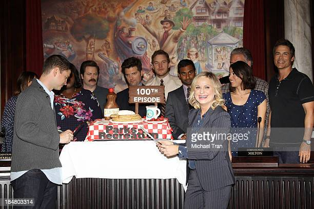 Michael Schur with Amy Poehler and the cast of 'Parks And Recreation' attend their 100th episode celebration held at CBS Studios Radford on October...