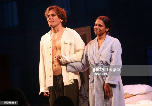 Michael Shannon and Audra McDonald during the curtain call for the revival of Frankie and Johnny in The Clair de Lune at The Broadhurst Theatre on...