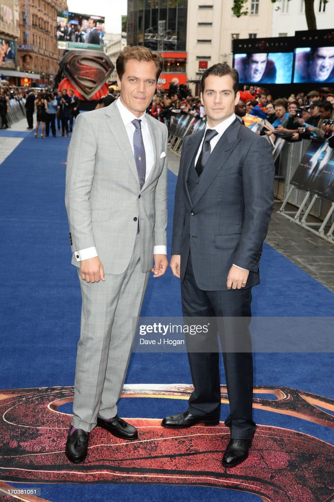 Michael Shannon and Henry Cavill attend the European premiere of 'Man Of Steel' at The Empire Leicester Square on June 12, 2013 in London, England.
