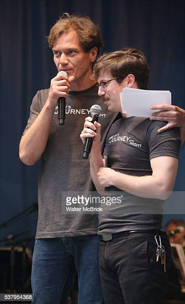 Michael Shannon and John Gallagher Jr on stage at United presents 'Stars in the Alley' in Shubert Alley on June 3 2016 in New York City