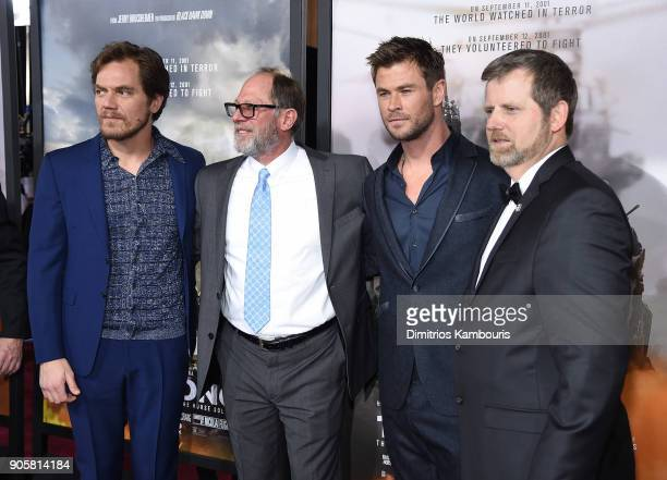 Michael Shannon Bob Pennington Chris Hemsworth and Mark Nutsch attend the world premiere of '12 Strong' at Jazz at Lincoln Center on January 16 2018...