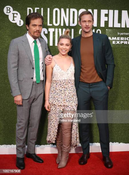 Michael Shannon Florence Pugh and Alexander Skarsgard attend attends the World Premiere of The Little Drummer Girl during the 62nd BFI London Film...